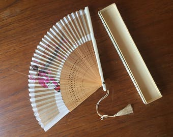 1950s Paper Japanese Hand Fan with Geisha