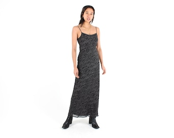90s Minimal Staple Simple Cami / Slip / Spaghetti Strap Black w/ White Squiggles Maxi Dress
