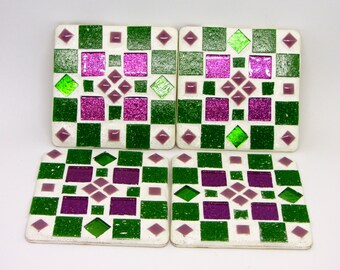 Handcrafted mosaic coasters, various colours, mosaics glass tiles, glitter grout