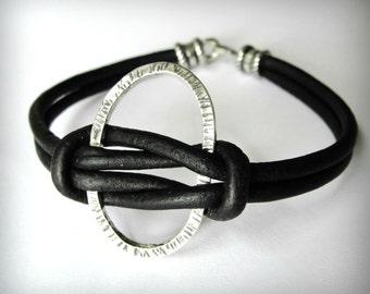Knotted Leather Bracelet, Black Leather, Sterling Silver Oval Bracelet, Harmony, Friendship Bracelet, graduation gift, gift for woman