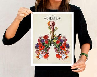 "Anatomical Floral Lungs - ""Breathe"", 11"" x 14"",Human Anatomy Medical print, Pulmonologist Gift, Nurse Graduation gift, Colorful Floral Lungs"