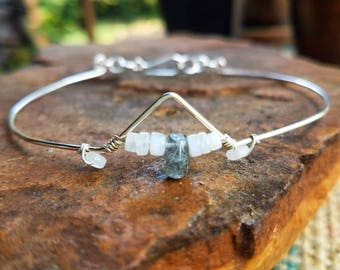 Moonstone & Labradorite Sterling Silver Arm Band, Made To Order, arm cuff, anklet MLSSAB2