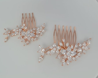 Bridal Zirconia Crystal Hair Comb, Wedding Jewelry, Small or Large, Rose Gold, Silver Comb Swarovski Pearls, Agnes Ships in 1-3 business Day