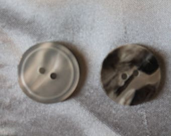 button, round, gray, marbled grey reversible, 23mm
