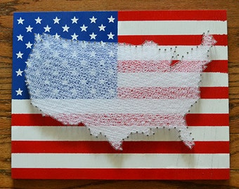 """American Flag with the United States String Art - 11""""x14"""" - America Nail Art - USA Flag"""