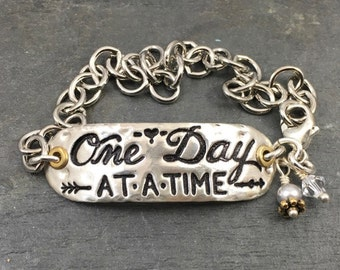 One Day At A Time/ Silver bracelet/ Mixed Metal Bracelet/