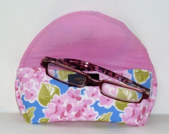 Fabric Eyeglass Case Magnetic Closure Moda Pink Floral