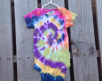 24 Months, Tie Dye Baby Onesie, TDBOspiral4