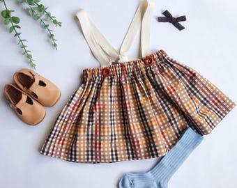 Cotton Suspender Skirt with Strap Tie Back