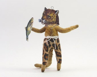 Vintage Inspired Spun Cotton Leopard Man Figure/Ornament (MADE TO ORDER)