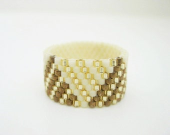Peyote Ring / Perlen-Ring in Creme, Gold und Bronze / Größe 5, 6, 7, 8, 9, 10, 11, 12, 13 / Seed Bead Ring / Space Gear Ring / Beadwork