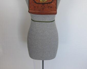 Vintage TOOLED LEATHER 70's Handmade Purse