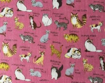 Kokka fabric.Cotton.Double gauze.PA-43100-100B. Cats fabric.Choose your cut.