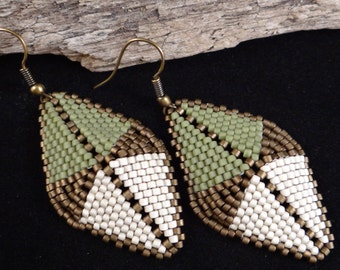 Seed Bead earrings earthtone earrings African inspired earring 3D peyote sage bone bronze sienna tribal inspired handmade dangling earrings