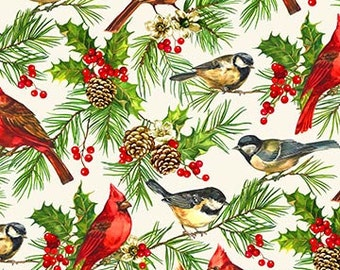Christmas Fabric Home for the Holidays Cardinals Quilt Fabric Quilting Quilts Fabric by the yard Cotton Sewing Yardage
