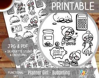 Planner Girl Budgeting, Pay Bill, No Spend Printable Planner Stickers, Character Printable Sticker, Functional Stickers, Bullet - CUT FILES