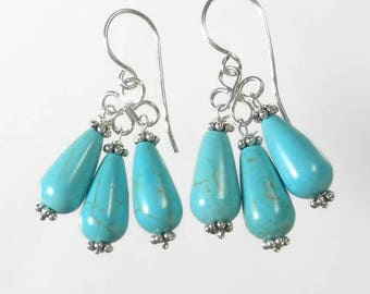 Turquoise Earrings Dangle Turquoise Drop Earrings Turquoise Chandelier Earrings Sterling Silver