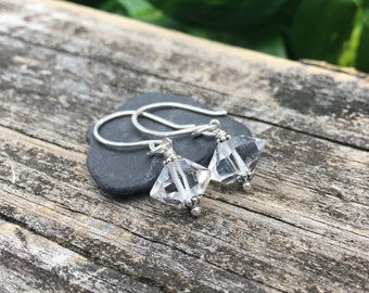 Herkimer Diamond Sterling Silver Dangle Earrings - Simple Single Natural Crystal Gem - Handmade Jewelry - Shepherds Hook or Leverback Hooks
