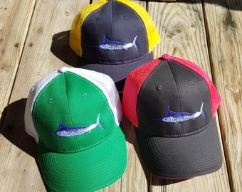Blue Marlin Trucker cap mesh adjustable velcro Ladies fishing Blue Red