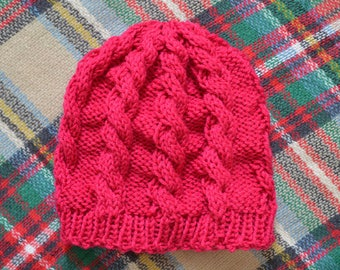 Women's Hand Knit Cable Hat in Pink