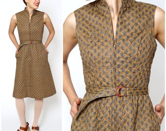 Vintage 1970s Belted Sleeveless Brown Paisley Quilted Zipper Dress by Lanz | Small
