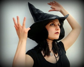 Black Winter Witch or Wizard Hat-Perfect for Christmas, Yule, or outside larping