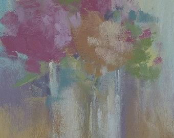 Hydrangeas Still Life High Key  5x7 Original Pastel Painting Karen Margulis