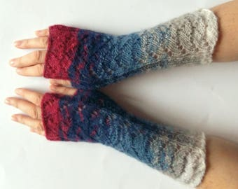 Fingerless Gloves Red Blue Azure wrist warmers