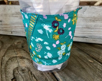Teal Flowers Grande Coffee Cozy Reversible Cup Cozy To Go Cup Sleeve Teacher Gift Frappuccino Words