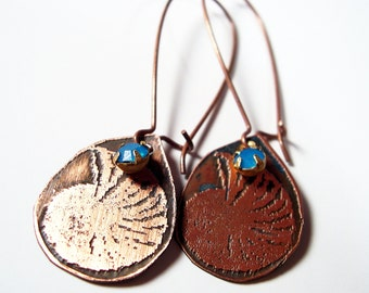 Etched Copper Earrings Ammonite Fossils with Blue Dangle - Free Domestic Shipping
