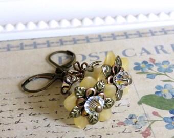 Soft Yellow Lucite Flower Earrings, Vintage Style Earrings, Fairy Earrings