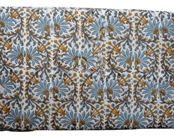 1 to 50 Yards(Print_100)Indian Hand Block Printed Cotton  Printed Fabric