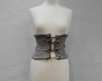 OOAK Knit Corset Regenerative Design Leather Metal Buckles Brown Gray