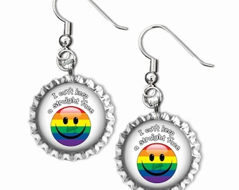 I Can't Keep A Straight Face Happy Face Cap Earrings,  Pride Art , Gay Art, LGBT Art, Proud, Love, Unity