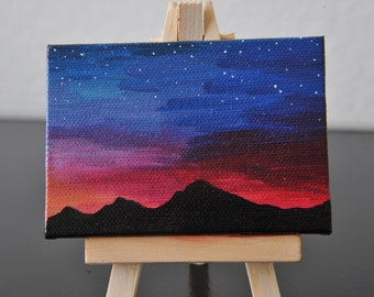 "2.5""x3.5"" Painting on Stretched Canvas - Sunset Night Sky with Stars and Mountain Range Silhouette"
