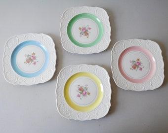 Vintage pastel plates Square pastel dishes Washington Colonial plates