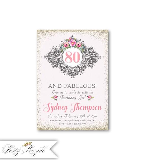 Elegantes invitaciones de cumpleaños 80 80 y fabulosas
