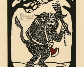 You'd Better Watch Out Krampus woodcut print limited edition
