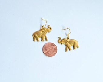 Brass elephant earrings