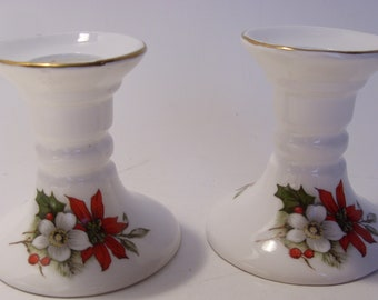 Bone China Pair of Vintage Christmas Candleholders with Poinsettia and Holly Great Gift