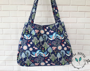 Floral Fabric Tote Shopping Bag, Large Fabric Lightweight Women's Tote Bag, Blue Floral Birds Trees Bag, Slip Pocket Carry Bag, Vegan Bag