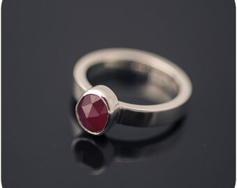 Rose Cut Ruby Ring - Sterling Silver Engagement Gemstone Ring size 7
