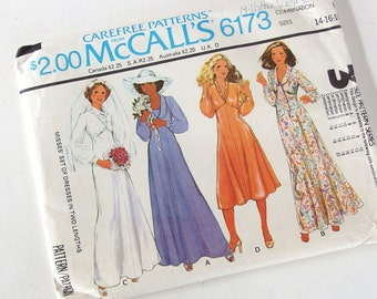 Vintage 1970's Bridal Gown and Bridesmaids Sewing Pattern, McCalls 6173, Bust 36 - 40 Inches
