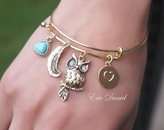 Owl Theme Charm Bangle, Available in Silver and Gold, Owl Bangle, Owl Bracelet, Charm Bracelet, Owl Charm