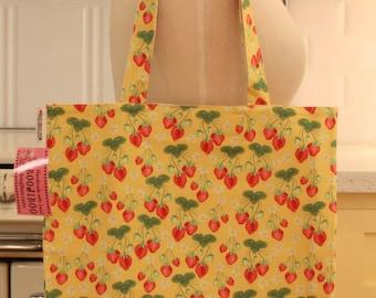 Book Bag Tote Purse - Yellow Strawberry