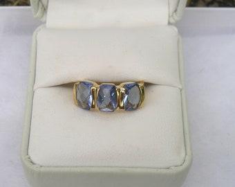 Lovely Gold over Sterling Blue Topaz CZ Ross Simons Ring Size 6
