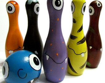 """Set of 5 Monster Theme 6"""" Wooden Tabletop Bowling Pins and Ball - Monster Toy Wooden Bowling Game - Monster Toy Tabletop Wooden Bowling Game"""