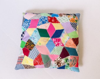 Cute Vintage Handmade Patchwork Crazy Quilt Pillow