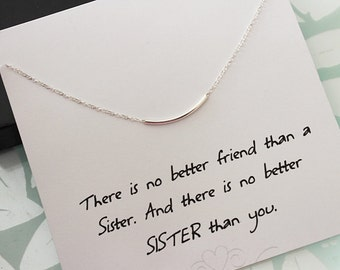 Sterling Silver Bar Necklace, Tube necklace, Sterling Silver Necklace, Sister necklace, message card jewelry