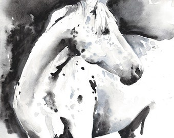 Watercolor Horse Print, Horse Art, Print of Watercolor Horse Painting, Horse Watercolor, Horse Illustration, Black and white horse